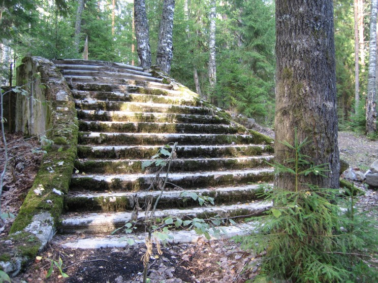 A staircase, the only remains, of Balanchine's home in Finland. Photograph by Elizabeth Kendall.