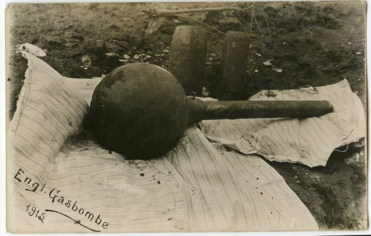 An English gas bomb from World War I, 1915.  Private collection of Christoph Herrmann via Wikimedia Commons.