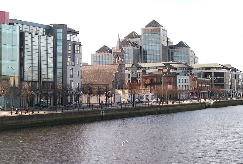 Awaiting an upturn in the Irish economy. This section of City Quay between Moss Street and Prince's Street, surrounded by steel and glass buildings of the Celtic Tiger Era, has been saved from demolition by the severe downturn in the Irish economy. Photo by Eric Jones of geograph.co.uk