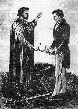 The Angel Moroni delivering the Golden Plates to Joseph Smith in 1827. From Reminiscences of Joseph the Prophet, by Edward Stevenson, Salt Lake City 1893. Public domain via Wikimedia Commons.