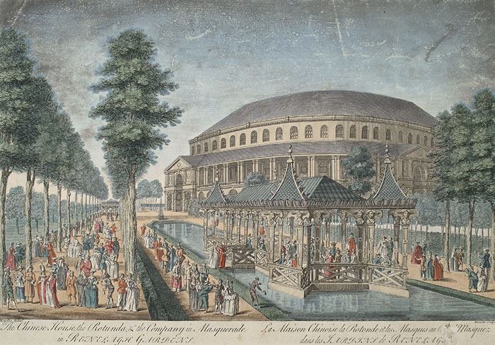 The Rotunda at Ranelagh Gardens in Chelsea near (now in) London by Thomas Bowles, 1754 [public domain]