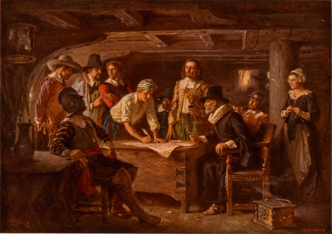 The signing of The Mayflower Compact