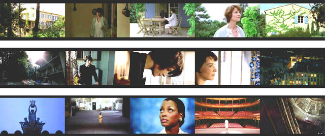 Scenes from 'Swimming Pool' (c. Fidélité 2003), 'Three Colors: Blue' (c. CAB 1993), and 'Diva' (c. Les Films Galaxie 1981).