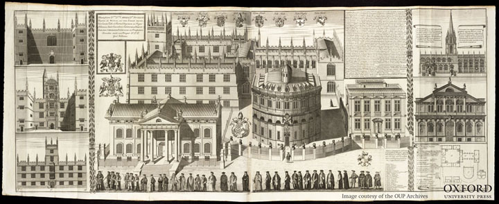 The University processes in fron of the Sheldonian Theatre and Clarendon Printing House, 1733 (William Williams, Oxonia depicta, plate 6).
