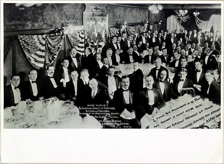 1914 ASCAP Dinner.  Image courtesy of the Library of Congress.