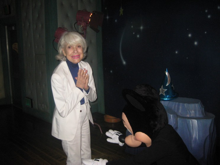 Mickey Mouse bows to Carol Channing. Photo courtesy of Eddie Shapiro.