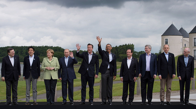 Leaders pose for a family photograph at the G8 Summit. Photo: Stefan Rousseau/PA Wire. CC BY-NC-ND 2.0 via G8 UK Presidency Flickr.