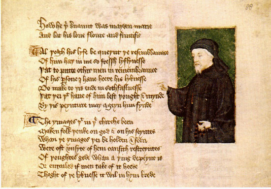 Portrait of Chaucer by Thomas Hoccleve in the Regiment of Princes