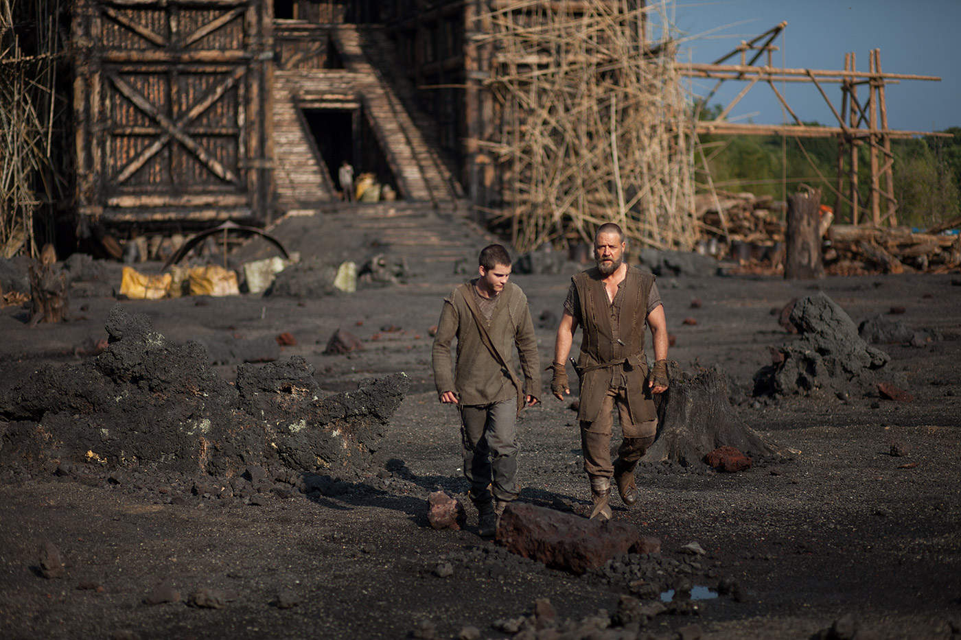Logan Lerman and Russell Crowe in Noah. Source: noahmovie.com.