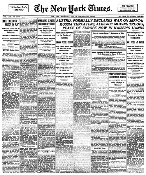 The New York Times, 29 July 1914. Public domain via Wikimedia Commons