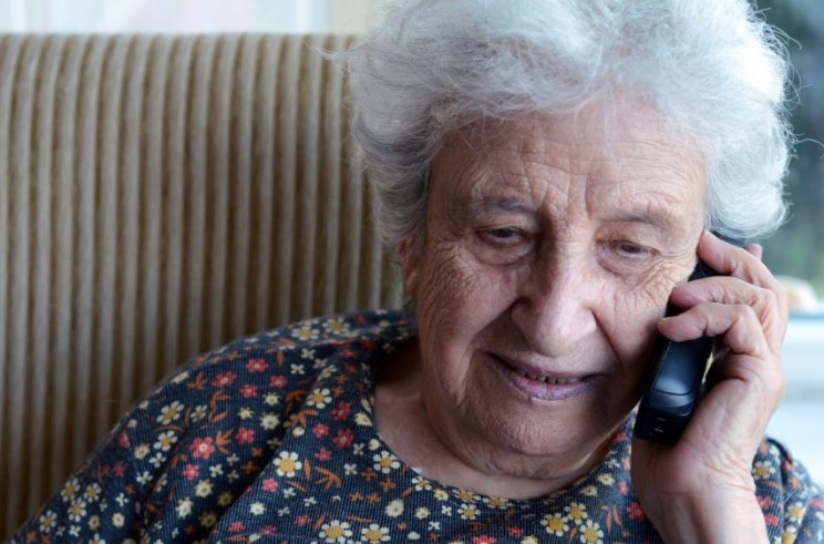 Senior woman on phone