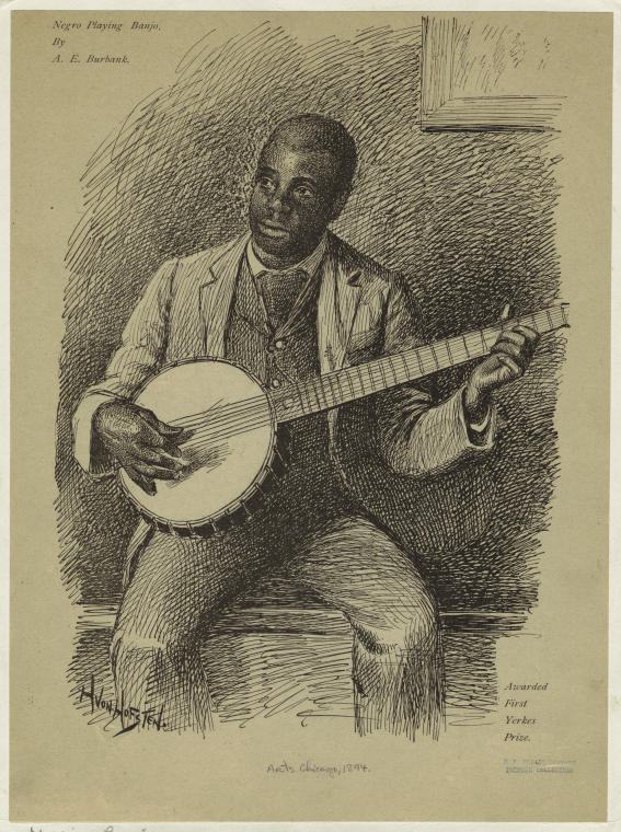 Banjo player, 1894. NYPL Digital Collection. Image ID: 832330