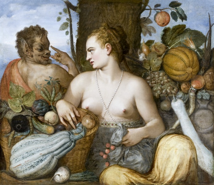 "Vertumnus seducing Pomona in the shape of an old woman. (Pomona by Frans de Vriendt ""Floris"" (Konstnär, 1518-1570) Antwerpen, Belgien, Hallwyl Museum, Photo by Jens Mohr, via Wikimedia Commons)"