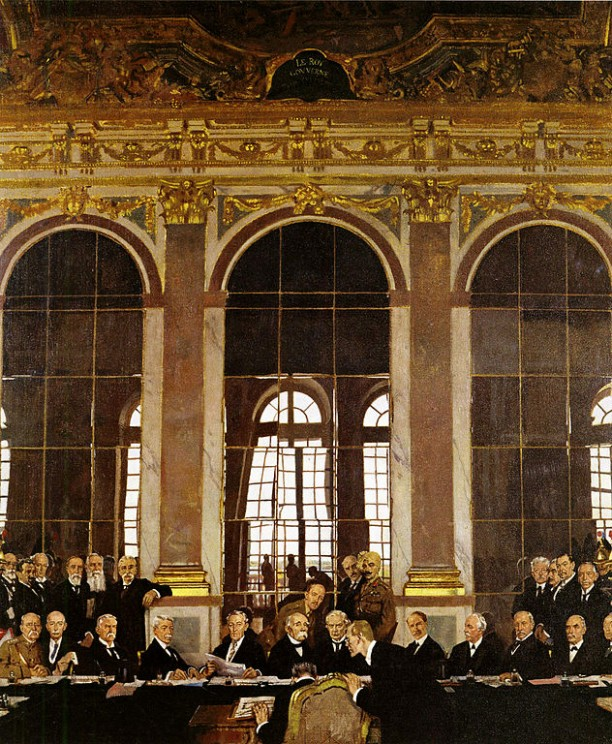 The Signing of Peace in the Hall of Mirrors, Versailles, 28th June 1919 by William Orpen. Imperial War Museum. Public domain via Wikimedia Commons.