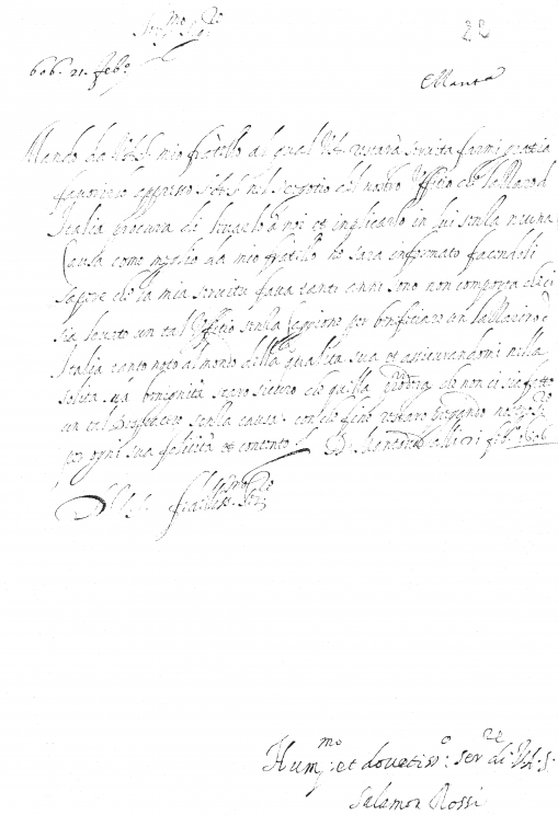 Letter that Salamone Rossi wrote on behalf of his brother Emanuele (21 February 1606); fair copy, with the close and signature in Rossi's own hand. Archivio Storico, Archivio Storico, Mantua.