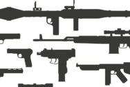 Silhouette army weapons and handgun army silhouette weapons. War rifle army assault silhouette weapons murder. Weapon collection different military automatic gun shot machines silhouette vector.